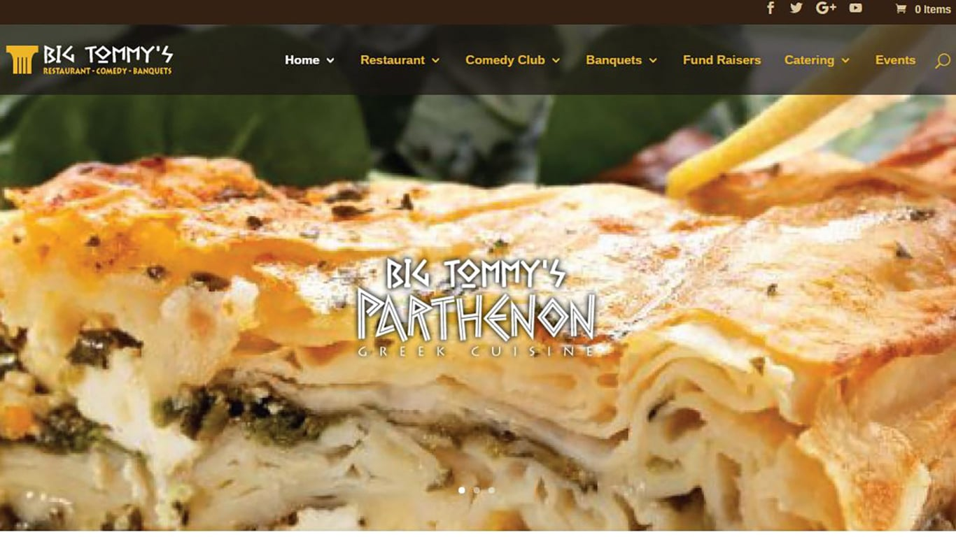 Website Design Restaurant & Comedy Club Digital Advertising for Small Business